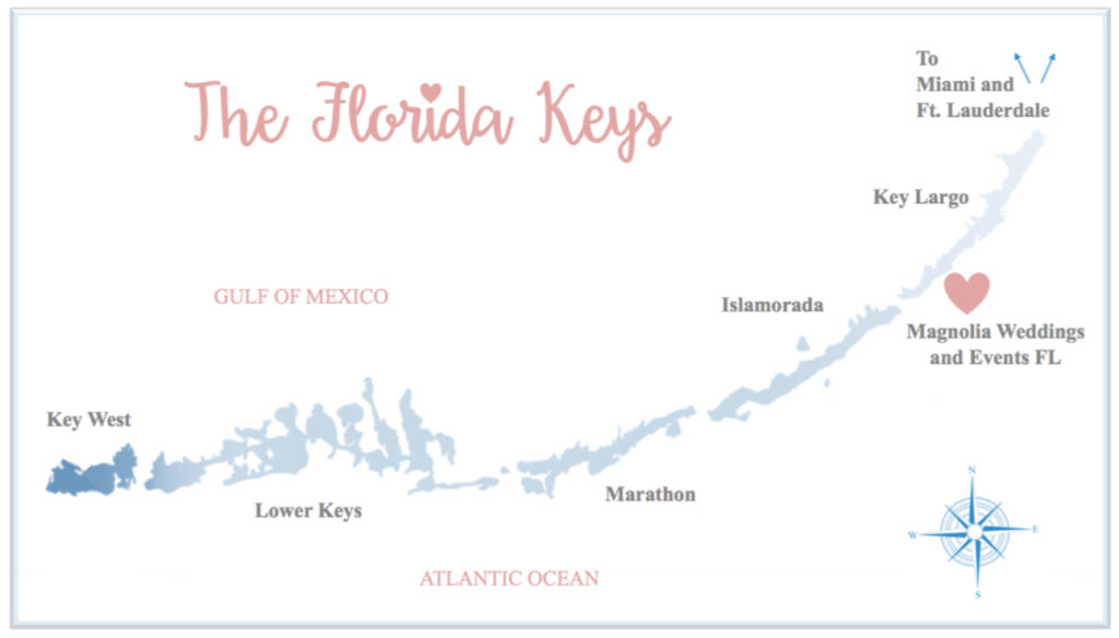 Magnolia Weddings and Events FL Map of Florida Keys